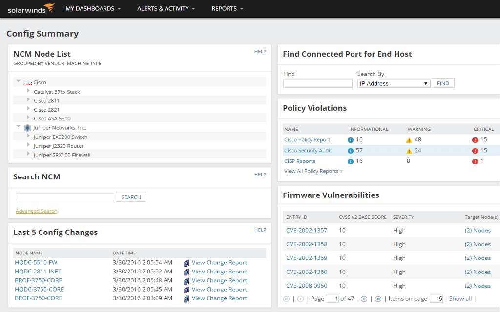 Switch and Router Configuration Management | SolarWinds