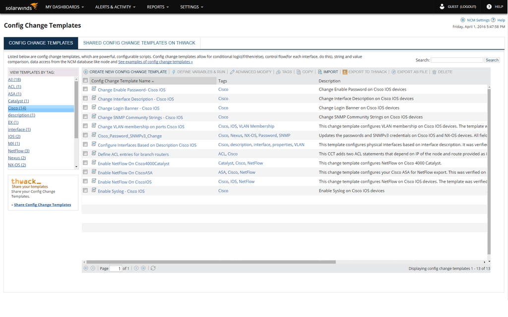 Switch and router configuration management solarwinds ncm templates maxwellsz