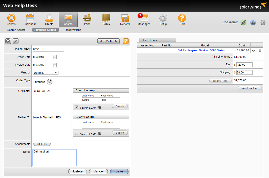 Screenshot of purchase order management