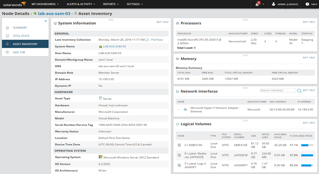 it asset inventory management hardware software solarwinds