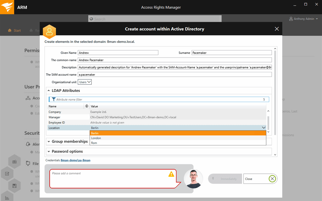 Active Directory user provisioning in SolarWinds ARM
