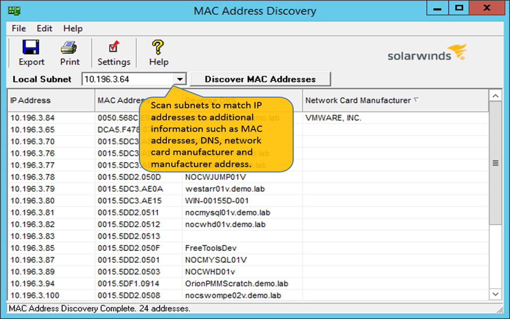 mac address scanner - scan network for mac addresses | solarwinds