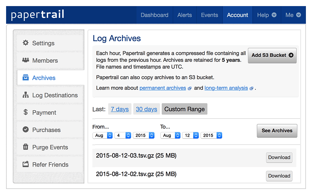 Papertrail account archives
