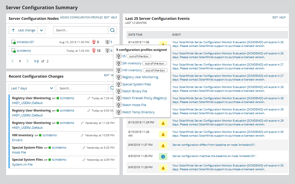 Server Configuration Change Monitoring Tool | SolarWinds