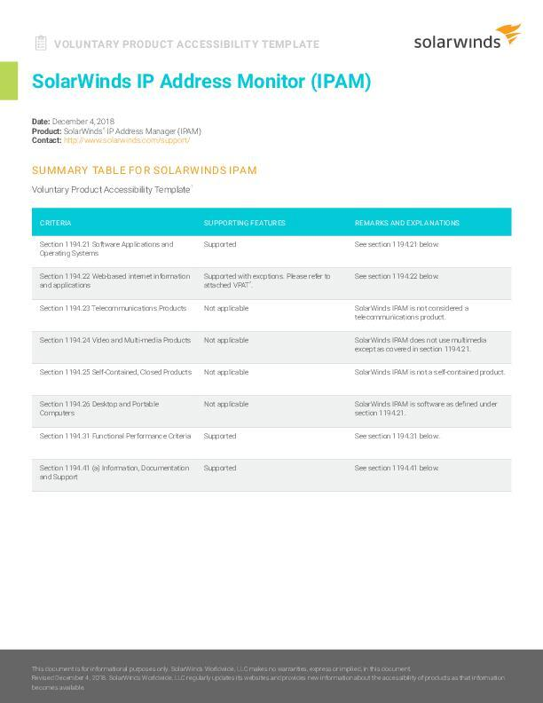 Voluntary Product Accessibility Template (VPAT) for SolarWinds IP ...