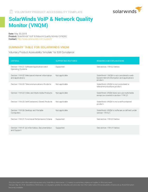 Voluntary Product Accessibility Template VoIP Network and Quality ...