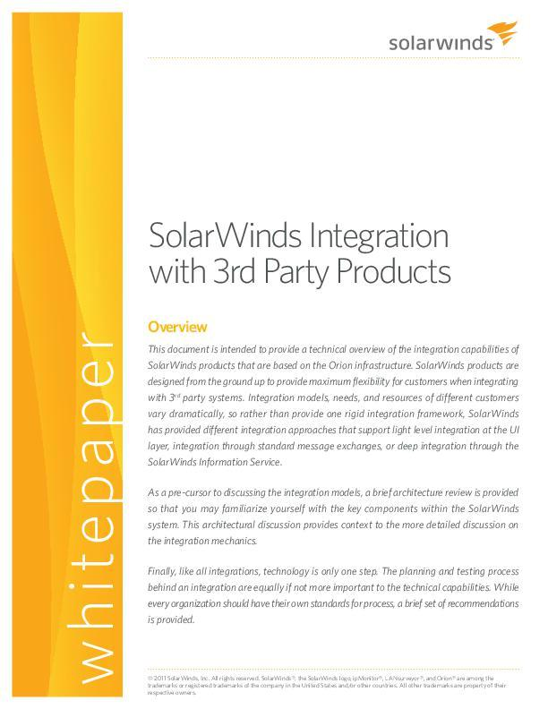 Solarwinds Integration With 3rd Party Products Whitepaper Solarwinds