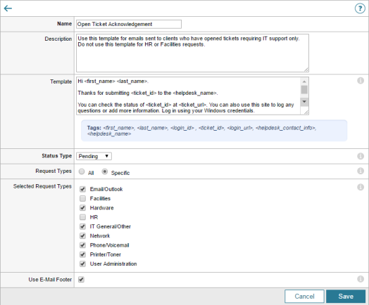 Solarwinds web help desk help apply your email templates when completed your template is configured with your new selections as shown below pronofoot35fo Images